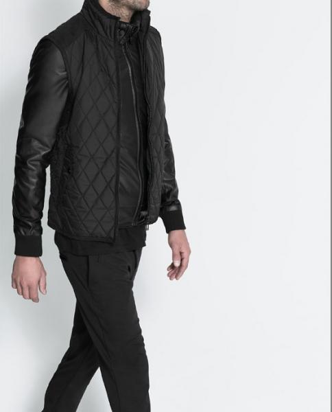 18a1873b498 Мужская куртка Zara глянцевая черная