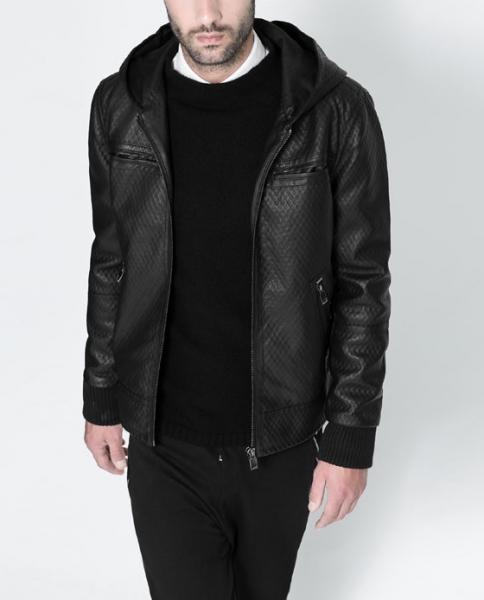 a16fcd41d80 Мужская куртка Zara глянцевая черная с рельефом